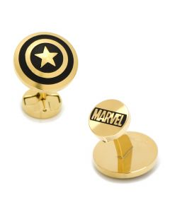 Stainless Steel Black and Gold Captain America Cufflinks