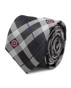 Captain America Gray Plaid Tie
