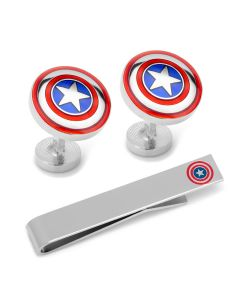 Captain America Cufflinks and Tie Bar Gift Set