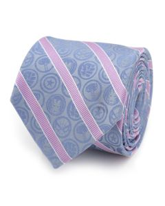 Marvel Comics Blue and Pink Stripe Silk Men's Tie