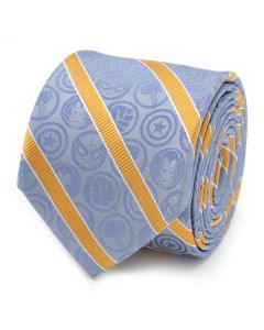 Marvel Comics Blue and Orange Stripe Silk Boy's Tie