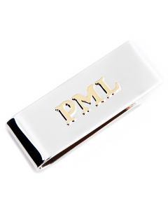 Sterling and 10k Gold Two Tone Personalized Money Clip