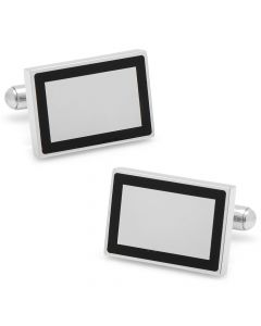 Stainless Steel Rectangle Engravable Framed Cufflinks