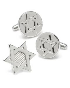 Star of David Stainless Cufflinks Lapel Pin Gift Set