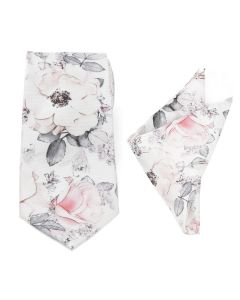 Painted Floral Gray Necktie and Pocket Square Gift Set