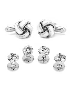 White and Silver Knot Stud Set