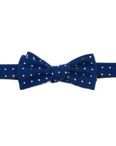 Navy and White Polka Dot Wool Bow Tie