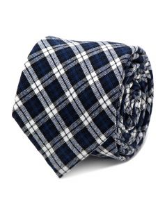 Navy and Black Plaid Cotton Tie