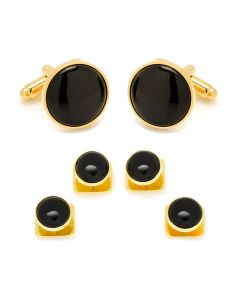 Gold and Onyx Stud Set