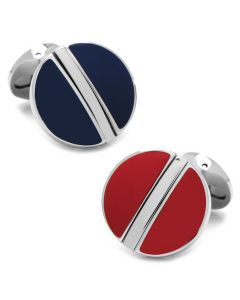 Stainless Steel Reversible Blue and Red Cufflinks