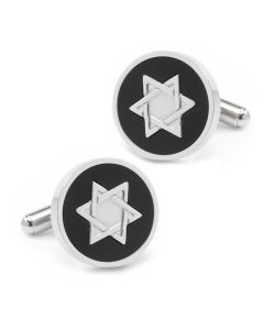 Star of David Onyx Stainless Steel Cufflinks