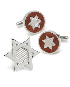 Star of David Wood Cufflinks and Lapel Pin Gift Set