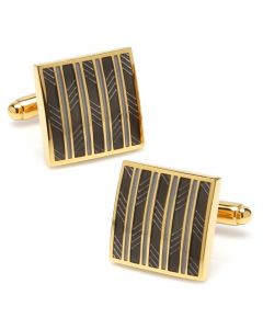 Black and Gold Striped Square Cufflinks