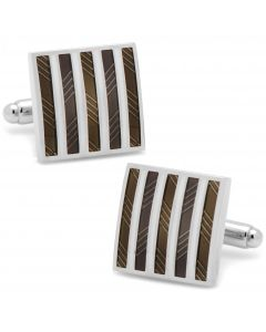 Gray and White Striped Square Cufflinks