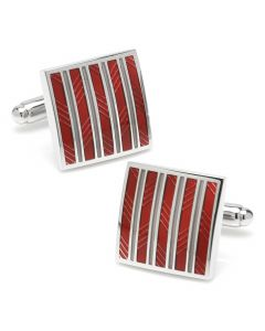 Red and Gray Striped Square Cufflinks