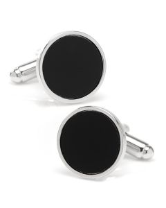 Round Silver Cufflink with Onyx Inlay