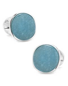Sterling Silver Classic Formal Aquamarine Jade Cufflinks
