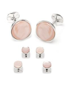 Sterling Silver Classic Formal Pink Mother of Pearl Stud Set