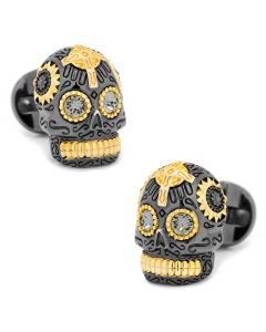 Black and Gold Vermeil Day of the Dead Skull Cufflinks