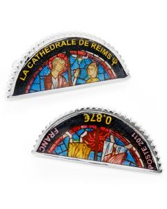 Blue Cathedral De Reims Stained Glass Window Stamp Cufflinks