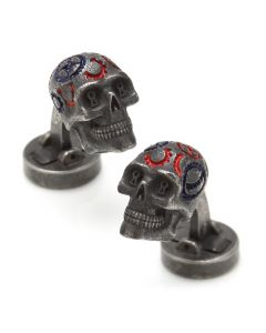Gear Skull Cufflinks -Gunmetal Plated