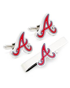 Atlanta Braves Cufflinks and Tie Bar Gift Set