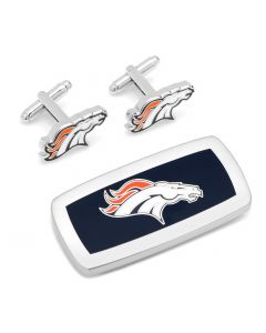 Denver Broncos Cufflinks and Cushion Money Clip Gift Set