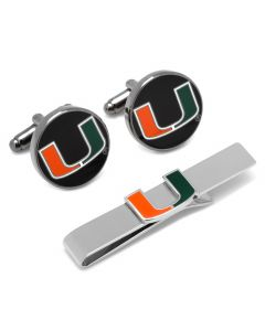 Miami Hurricanes Cufflinks and Tie Bar Gift Set