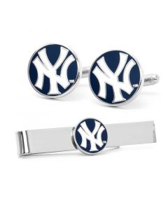 New York Yankees Cufflinks and Tie Bar Gift Set