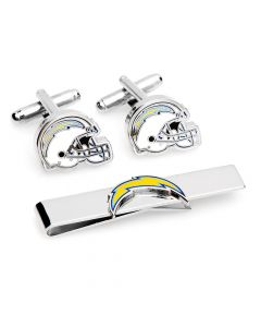 Los Angeles Chargers Cufflinks and Tie Bar Gift Set