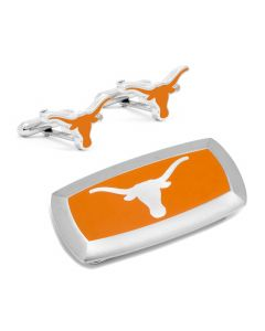 Texas Longhorns Cufflinks and Cushion Money Clip Gift Set