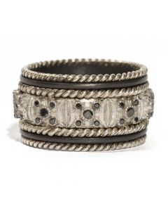 """Midnight Sterling Silver Band with """"X"""" Black Diamonds Ring"""