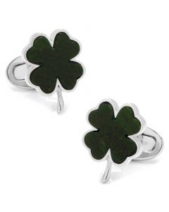 Four Leaf Clover Italian Green Onyx Cufflinks
