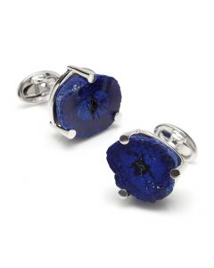 Sterling Polished Russian Azurite Cufflinks