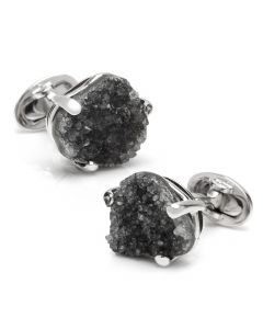 Sterling Freeform Black Drusy Cufflinks