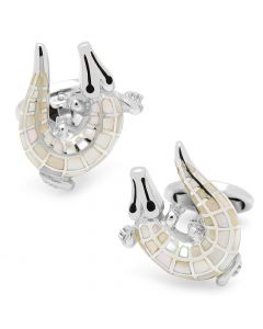 Mother of Pearl Crocodile Cufflinks