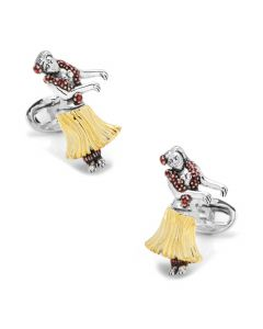 Sterling Silver Moving Hula Girl Cufflinks