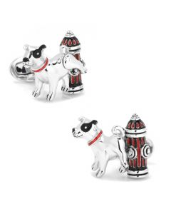 Sterling Silver Dog with Fire Hydrant Cufflinks