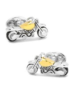 Sterling Silver Motorcycle with 24K Vermeil Cufflinks