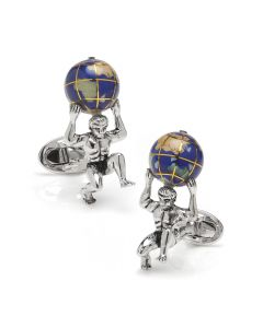 Sterling Silver Atlas Carrying The World Cufflinks