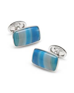 Sterling Blue Agate Cufflinks