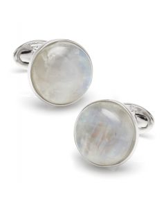 Sterling Round Moonstone Cufflinks