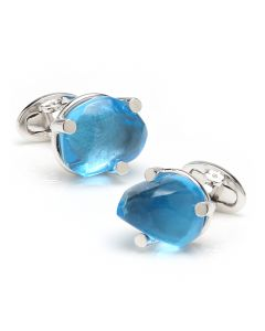 Sterling Silver Blue Topaz Cufflinks