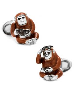Monkey with Reading Glasses and Book Cufflinks