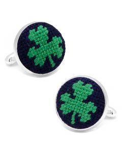 Navy Shamrock Needlepoint Cufflinks