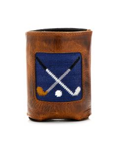 Navy Crossed Clubs Needlepoint Can Cooler