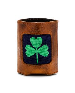 Navy Shamrock Needlepoint Can Cooler