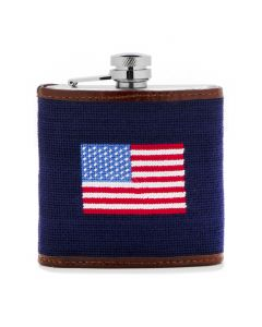 Navy American Flag Needlepoint Flask