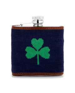 Navy Shamrock Needlepoint Flask