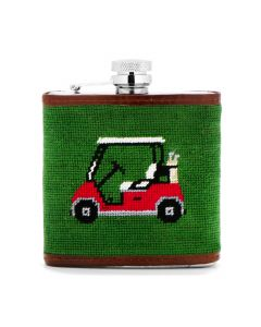 Forest Green Golf Cart Needlepoint Flask